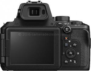 Nikon P950 back view and LCD