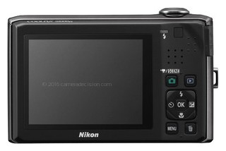 Nikon S1000pj back view and LCD