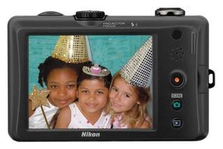 Nikon S1100pj back view and LCD