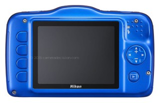 Nikon S32 back view and LCD