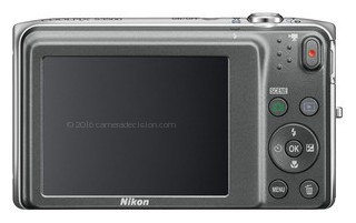 Nikon S3500 back view and LCD