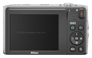 Nikon S3600 back view and LCD