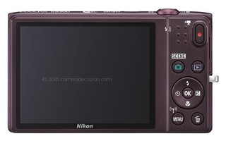 Nikon S5300 back view and LCD