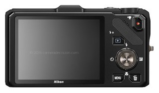 Nikon S9300 back view and LCD