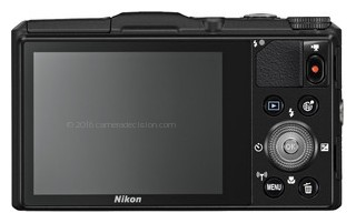 Nikon S9700 back view and LCD