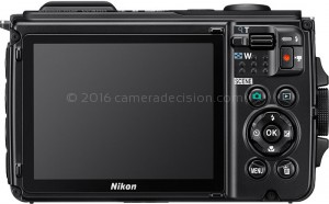 Nikon W300 back view and LCD