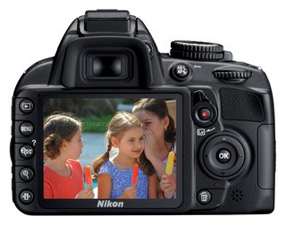 Nikon D3100 back view and LCD