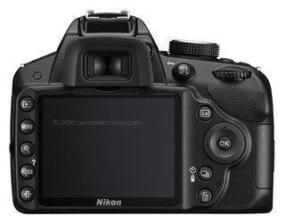 Nikon D3200 back view and LCD