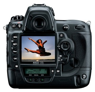 Nikon D3S back view and LCD
