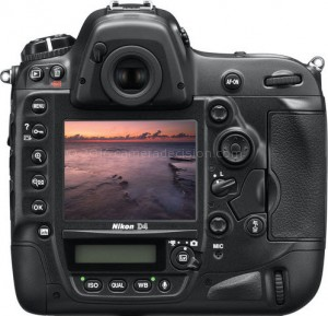 Nikon D4 back view and LCD