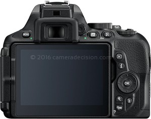Nikon D5600 back view and LCD
