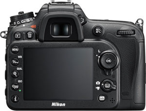 Nikon D7200 back view and LCD