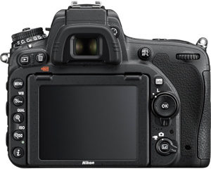 Nikon D750 back view and LCD