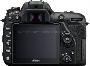 Nikon D7500 back view and LCD