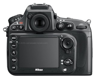 Nikon D800 back view and LCD