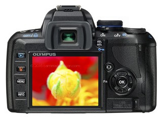 Olympus E-450 back view and LCD