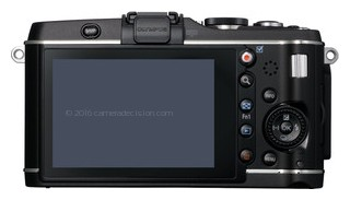 Olympus E-P3 back view and LCD