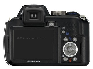 Olympus SP-565UZ back view and LCD