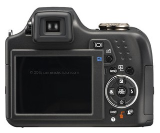 Olympus SP-590 UZ back view and LCD