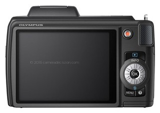 Olympus SP-610UZ back view and LCD