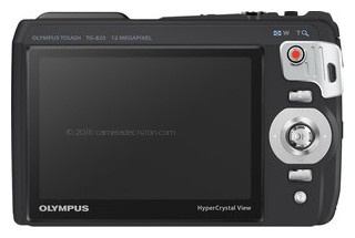 Olympus TG-820 iHS back view and LCD