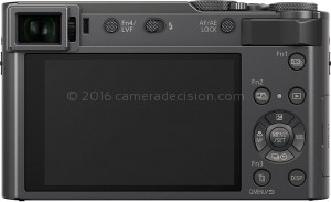 Panasonic ZS200 back view and LCD