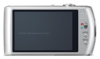 Panasonic FX75 back view and LCD