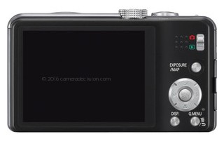 Panasonic ZS20 back view and LCD