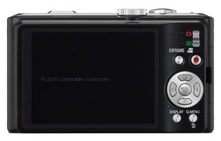 Panasonic ZS7 back view and LCD