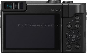 Panasonic ZS70 back view and LCD