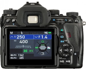 Pentax K-1 II back view and LCD