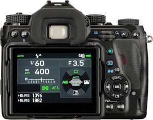 Pentax K-1 back view and LCD