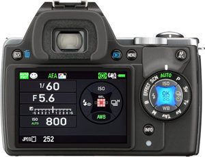 Pentax K-S1 back view and LCD