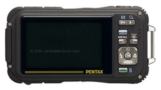 Pentax W90 back view and LCD