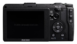 Ricoh GR back view and LCD