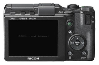 Ricoh GXR A16 24-85mm F3.5-5.5 back view and LCD