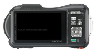 Ricoh WG-20 back view and LCD
