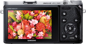 Samsung NX500 back view and LCD