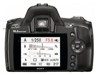 Sony A230 back view and LCD