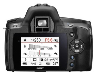 Sony A290 back view and LCD