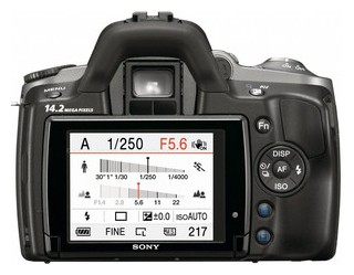 Sony A380 back view and LCD