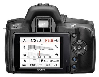 Sony A390 back view and LCD