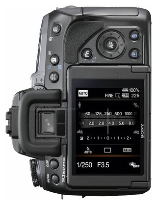 Sony A550 back view and LCD