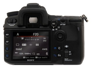 Sony A700 back view and LCD