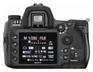 Sony A850 back view and LCD