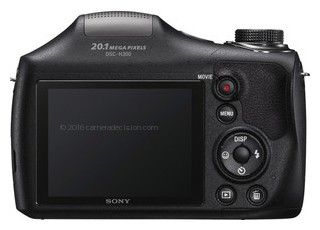 Sony H300 back view and LCD