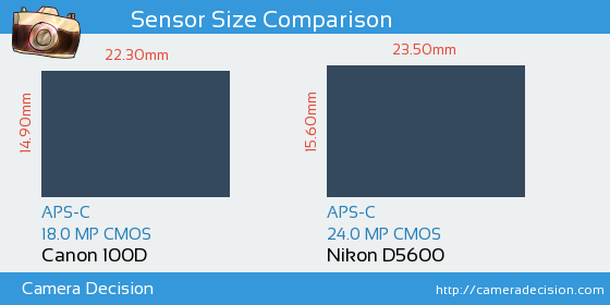 Canon 100D vs Nikon D5600 Sensor Size Comparison