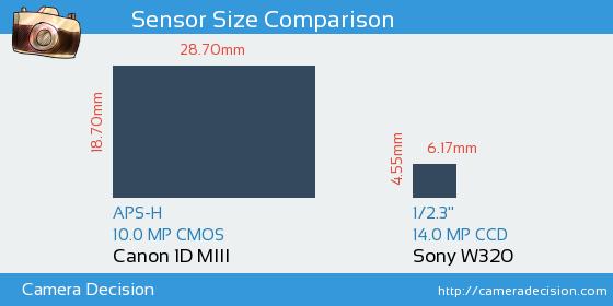 Canon 1D MIII vs Sony W320 Sensor Size Comparison