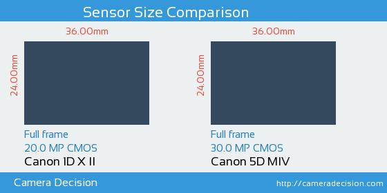 Canon 1D X II vs Canon 5D MIV Sensor Size Comparison