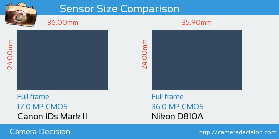 Canon 1Ds MII vs Nikon D810A Sensor Size Comparison